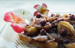 Karmelizujący lychees i banany Fotografia Stock
