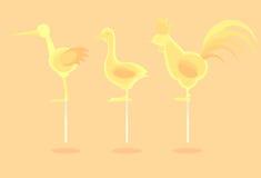 Karmelu żółty cukierek na kiju ilustracji