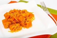 Karmelu deser bania z pomarańczowym zapałem Obrazy Royalty Free