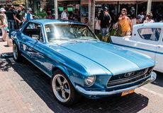 Old Ford Mustang 302 at an exhibition of old cars in the Karmiel city. Karmiel, Israel - May 31, 2017 : Old Ford Mustang 302 at an exhibition of old cars in the stock images