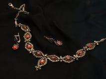 Karminrote Halskette und Ohrringe Lizenzfreie Stockfotos