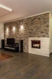 Karminrotes Haus - modernes Wohnzimmer Stockfotos