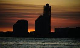 Karmosinröd solnedgång Royaltyfria Foton