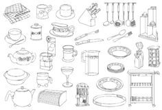 Karmowa i Kuchenna artykuły Kreskowej sztuki ilustracja ilustracja wektor