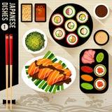 Karmowa ilustracja, Japoński jedzenie Fotografia Stock