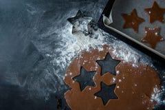 karmowa ilustracyjna kuchenna przygotowania wektoru kobieta Piernikowy ciasto z gwiazdy kształtną wycinanką Obrazy Stock