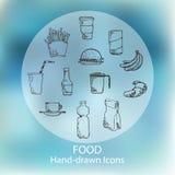 Karmowa ręka rysować ikony Obrazy Royalty Free