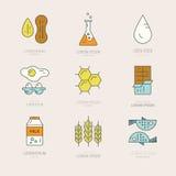 Karmowe Allergens ikony Zdjęcie Stock