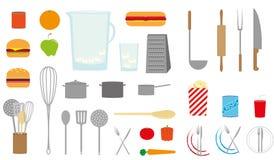 Karmowe i kuchenne ikony Fotografia Royalty Free