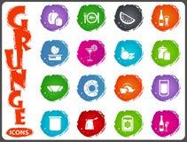 Karmowe i kuchenne ikony ustawiać w grunge projektują Obrazy Royalty Free