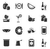 Karmowe i kuchenne ikony ustawiać Obrazy Royalty Free