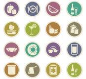 Karmowe i kuchenne ikony ustawiać Fotografia Royalty Free