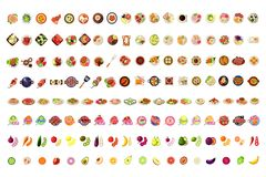 Karmowe ikony Duży set, owoc, warzywa, BBQ, pizza, Smoothie, suszi, lody, hamburger etykietek wektoru ilustracja ilustracja wektor