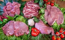 Karmowego cousine mięsny skład, składnik dla jeść obrazy stock