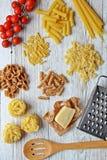 karmowego wizerunku włoskiego makaronu surowi kształty Zdjęcie Royalty Free