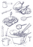 Karmowi i kuchenni naczynia Obrazy Stock
