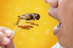 Karmowi insekty: Mężczyzny łasowania krykiet i dżdżownic Bambusowy insekt smażący dla je jako karmowa przekąska i symbol ikon med zdjęcia stock