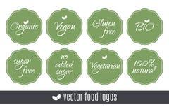 Karmowi logowie ustawiający Organicznie Cukrowi bezpłatni Życiorys 100 weganinu glutenu jarosza Naturalne etykietki Wektorów ziel Zdjęcia Royalty Free