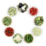 Karmowi odgórnego widoku warzywa odizolowywający na białym kuchennym worktop, kopia obraz stock