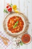 Karmowi składniki i pikantność dla gotować, pomidory, olej, pieprz, Zdjęcia Stock