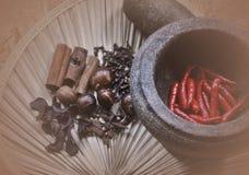 Karmowi składniki pikantność i ziele na tradycyjnym pojęciu Fotografia Royalty Free