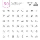Karmowy i Deserowy ikona set 50 Kreskowych Wektorowych ikon Zdjęcie Stock
