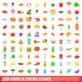 100 karmowy i piją ikony ustawiać, kreskówka styl ilustracji
