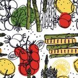 Karmowy Inkasowy Świeży asparagus z halloumi, pomidorów i cytryn Bezszwowym wzorem, Obrazy Royalty Free