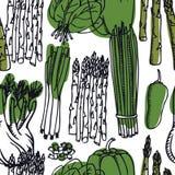 Karmowy Inkasowy Słodki pieprz, asparagus, wiosny cebula i szpinaka Bezszwowy wzór, ilustracja wektor
