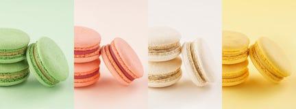 Karmowy kolaż kolorowi macarons na to samo barwi tła obrazy royalty free