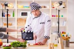 Karmowy kucharstwa tv przedstawienie w studiu obraz stock
