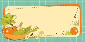 Karmowy kuchenny tło w doodle retro stylu royalty ilustracja