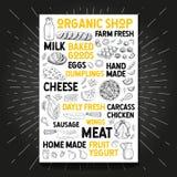 Karmowy plakatowy rysunkowy organicznie rynku gospodarstwo rolne świeży Nakreślenie ręka rysujący wektor royalty ilustracja