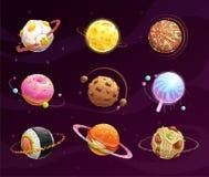 Karmowy planety galaxy pojęcie royalty ilustracja