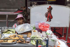 Karmowy sprzedawca w Soja kowboju w Bangkok Obraz Stock