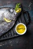 Karmowy tło z surowym świeżej ryba reineta, ziele, olil i cytryną, Odgórny widok Fotografia Stock
