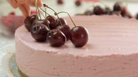 Karmowy tytułowanie i kulinarny cheesecake zbiory wideo