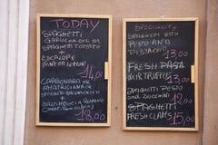 karmowy włoski menu Zdjęcie Stock