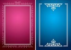Karmozijnrode en blauwe achtergronden met witte kaders royalty-vrije illustratie
