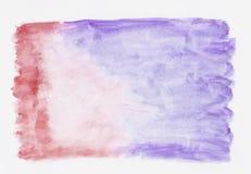 Karmozijnrode en viooltje gemengde abstracte waterverfachtergrond Stock Afbeeldingen
