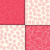 Karmozijnrode en witte geometrische patroonreeks Vector illustratie Stock Afbeeldingen