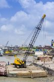 Ship yard crane at Sadarghat, Chittagong, Bagladesh. Karnafuli River Sadarghat areas, Chittagong, Bagladesh. Chittagong is situated on the banks of the Stock Photography