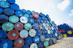 A worker organizes barrels at Karnafuli Rivers Sadarghat areas, Chittagong, Bangladesh. Karnafuli River Sadarghat areas, Chittagong, Bagladesh. Chittagong is Stock Photo