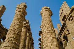 KARNAK, EGYPT- JANUARY 2016: Massive columns of  Karnak Temple Complex, Luxor, Egypt Royalty Free Stock Photo