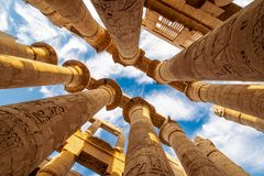 Free Karnak Hypostyle Hall Columns In The Temple At Luxor Thebes Stock Photo - 136783440