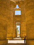 Karnak's hipostyle hall. Recording the hypostyle hall of Karnak Temple. Thebes. Egypt series Stock Image