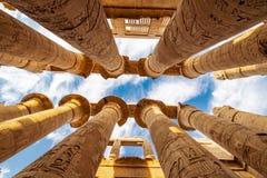 Karnak tempel andra - besökte mest den turist- dragningen i Egypten efter de stora pyramiderna arkivbild