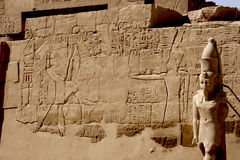 Karnak temple hieroglyphs Royalty Free Stock Photography