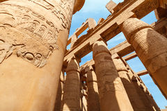 Karnak Temple in Luxor. Egypt. Hieroglyphic covered columns in the Hypostyle Hall. Karnak Temple, Luxor, Egypt royalty free stock image