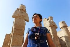 Tourist at Karnak Temple - Egypt. Karnak Temple at Luxor - Egypt Karnak temple - Most huge temple at Egypt royalty free stock images
